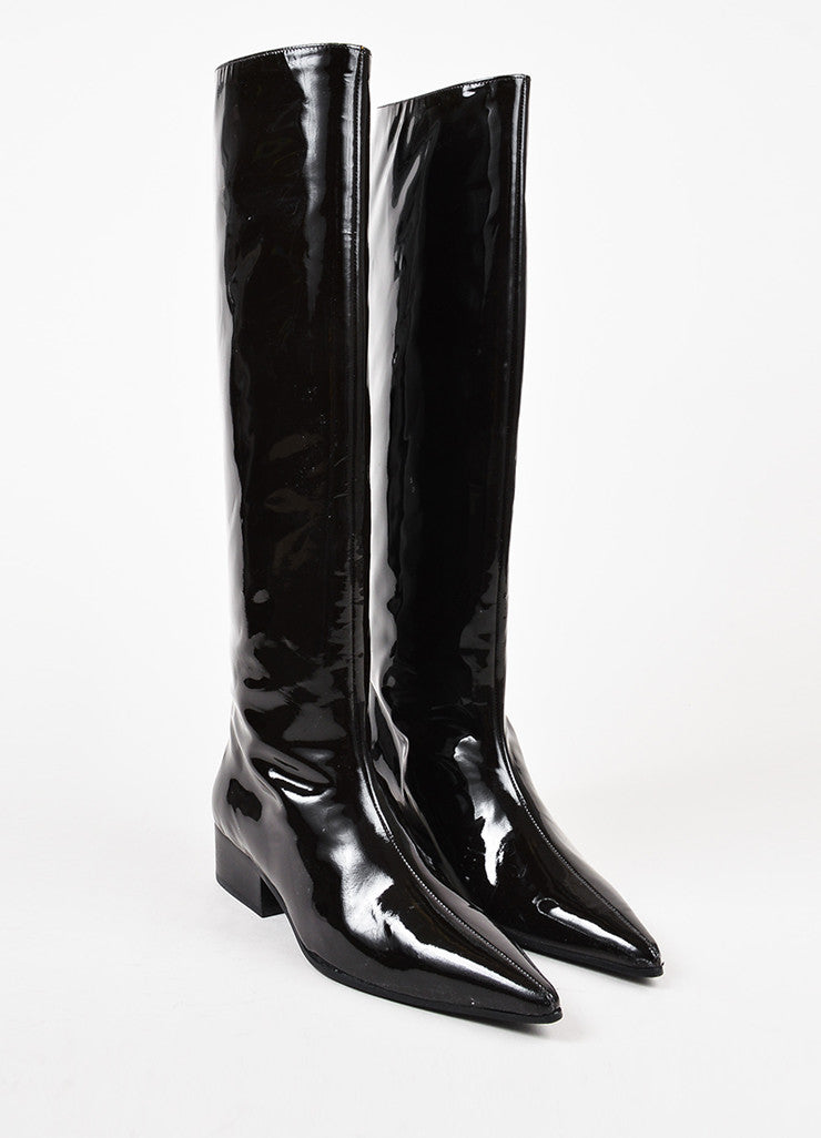 Gucci Dark Brown Patent Leather Pointed Toe Knee High Boots Frontview