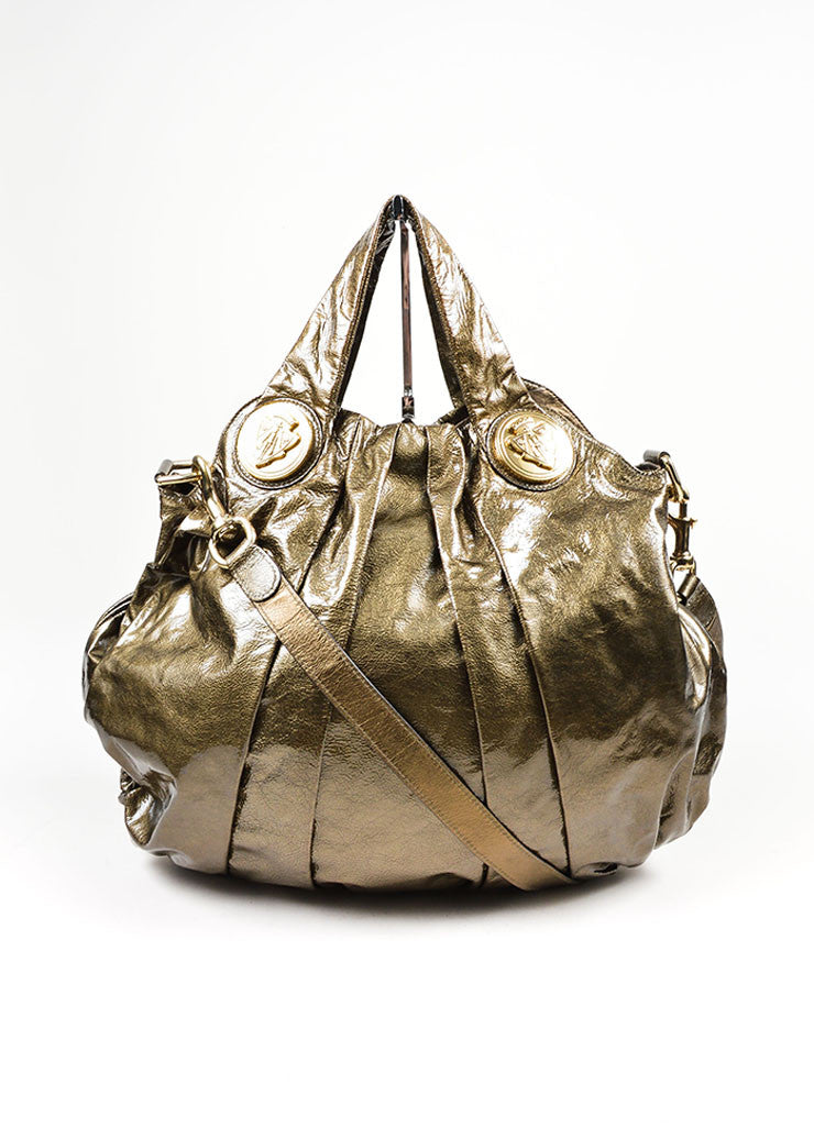 "Olive Green Gucci Patent Leather Pleated ""Medium Hysteria"" Shoulder Hobo Bag Frontview"