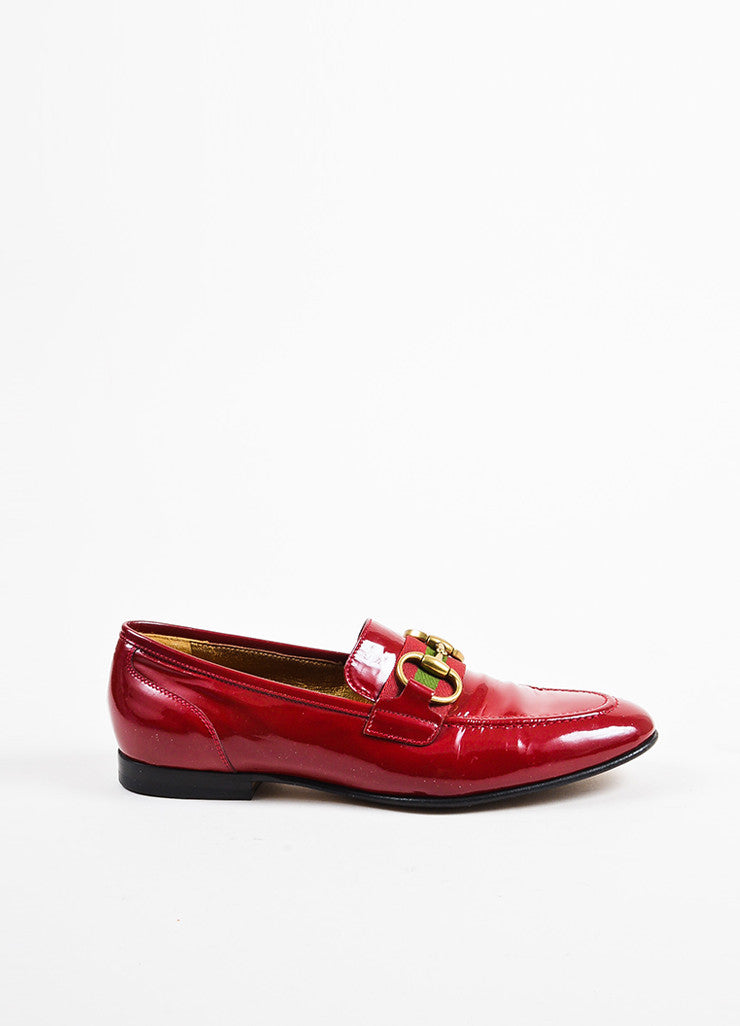 Gucci Red Patent Leather Gold Toned Horsebit Loafers Sideview