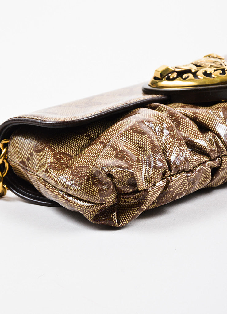 "Gucci Tan and Brown Coated Canvas Monogram Crested Heart ""Crystal Babouska"" Hand Bag Detail"