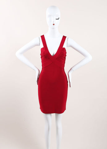 Herve Leroux New With Tags Red Sleeveless Bodycon Dress Frontview