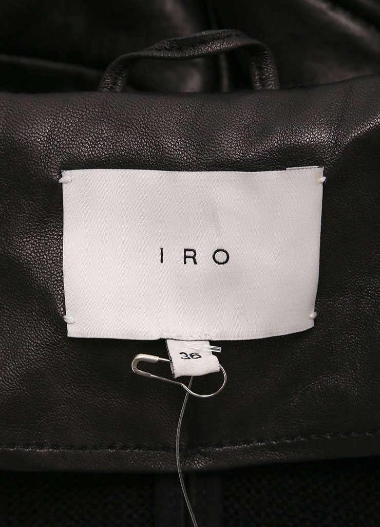 "Iro New With Tags ""Jeffrey"" Black Leather Hooded Bomber Jacket Brand"