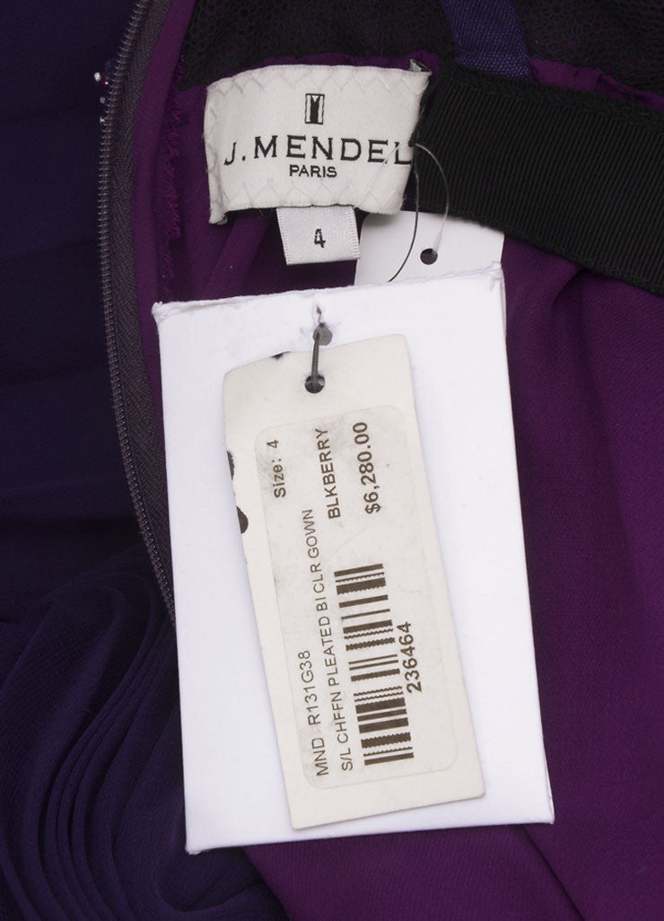 J. Mendel New With Tags Purple Silk Beaded Sleeveless Pleated Gown Brand