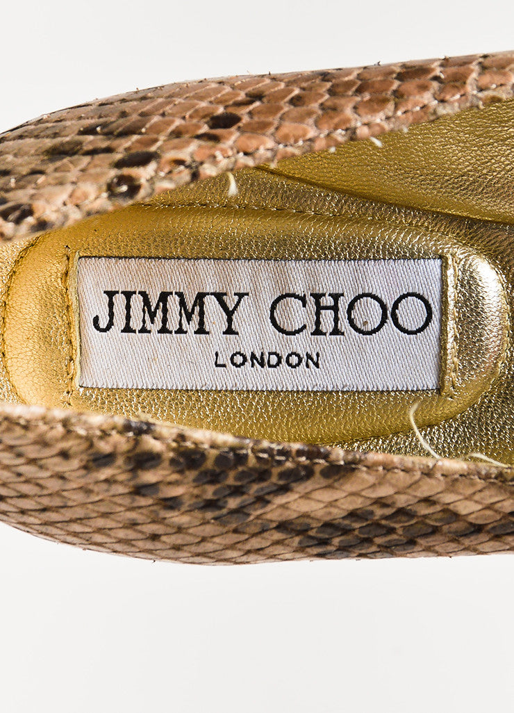 "Jimmy Choo Cream and Brown Snake Embossed Cap Toe ""Whirl"" Flats Brand"