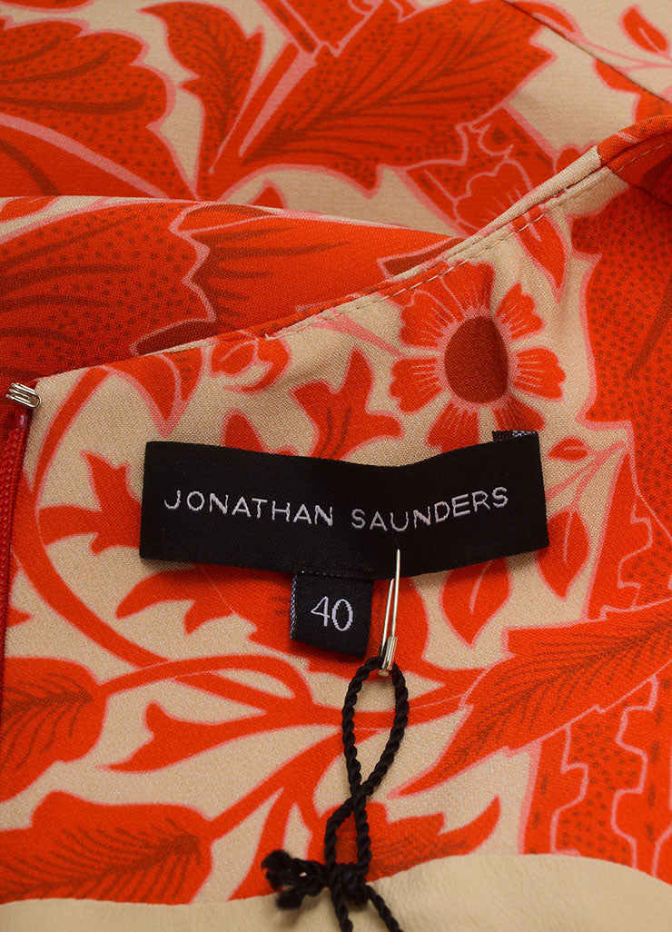 Jonathan Saunders New With Tags Red and Beige Silk and Wool Floral Print A-Line Dress Brand