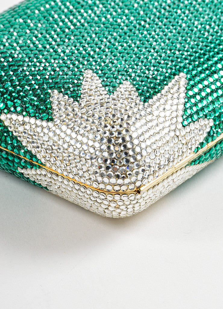 Judith Leiber Green and Clear Rhinestone Crystal Chain Strap Small Minaudiere Clutch Bag Detail