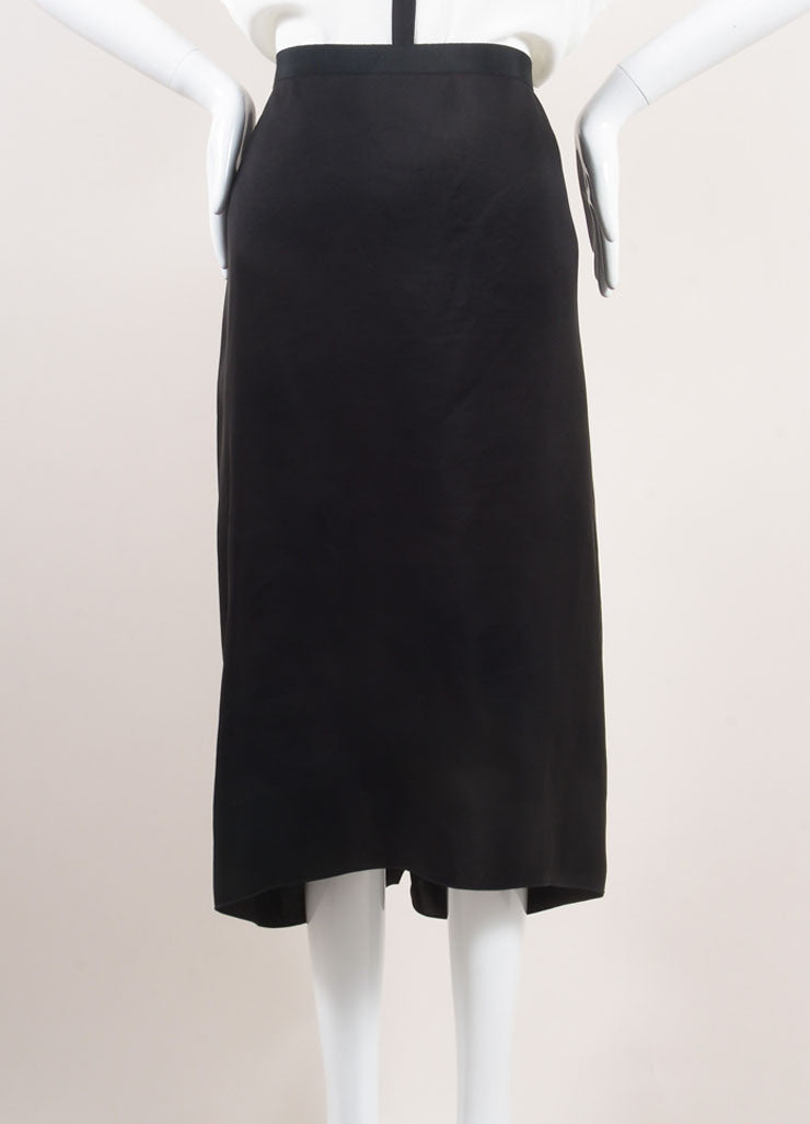 Lanvin Black Silk Ruffle Panel Midi Skirt Frontview