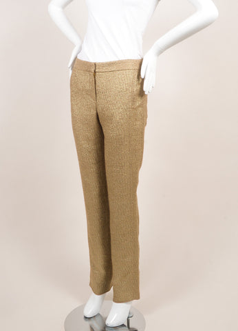 Lela Rose New Metallic Gold Cotton Blend Woven Slim Trousers Sideview