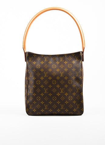 "Brown Louis Vuitton Coated Canvas Monogram ""Looping GM"" Tote Front"