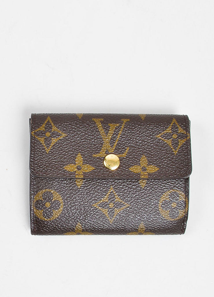 Brown and Tan Louis Vuitton Monogram Coated Canvas Small Snap Card Wallet Frontview