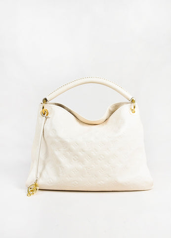"Louis Vuitton Cream Empreinte Leather Embossed Monogram ""Artsy MM"" Hobo Bag front"
