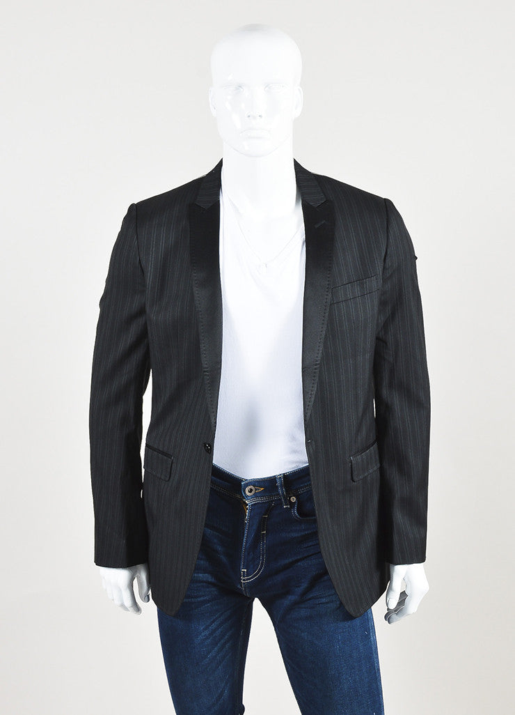 Dolce & Gabbana Black Grey Wool Silk Pinstripe Suit Jacket Front