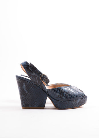 Maison Martin Margiela Blue Snakeskin Peep Toe Wedge Sandals Sideview