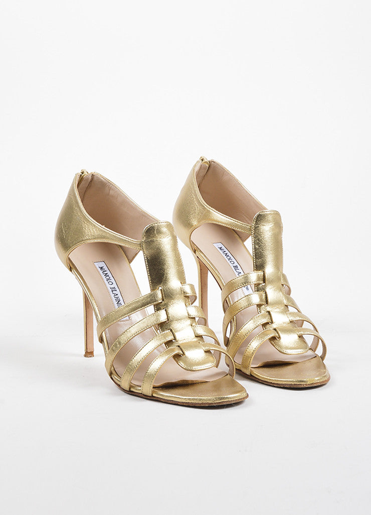 Gold Manolo Blahnik Leather Rakelanzany Heeled Sandals Front
