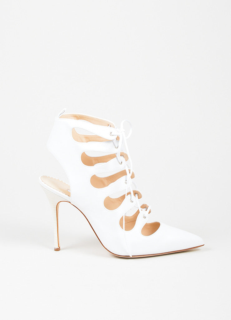 "White Manolo Blahnik Leather Lace Up Pointed Toe ""Latta"" Pumps Sideview"