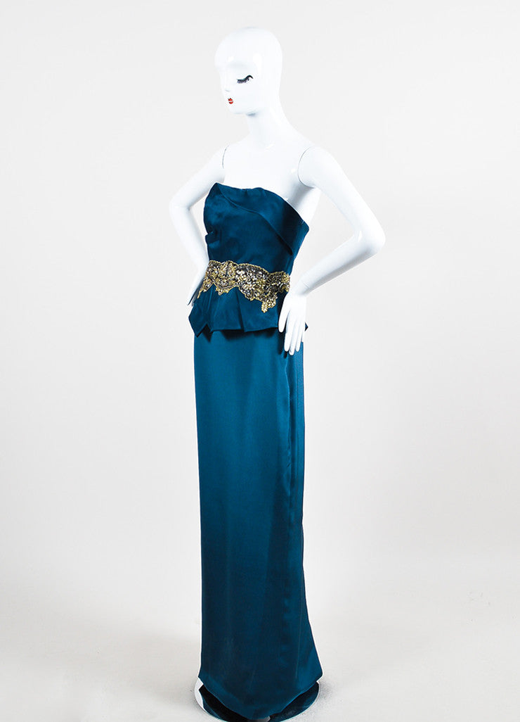 Marchesa Notte Teal Silk Jewel Sequin Embellished Strapless Gown  Sideview
