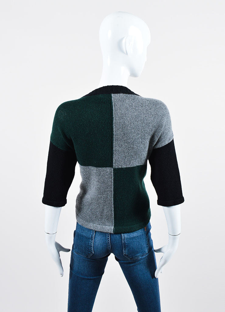 Green, Cream, and Black Marni Cashmere Boat Neck Beaded Sweater Backview