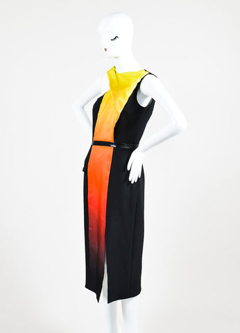 "Black, Orange, and Yellow Mathieu Mirano ""Ombre Flame"" Sleeveless Dress Sideview"