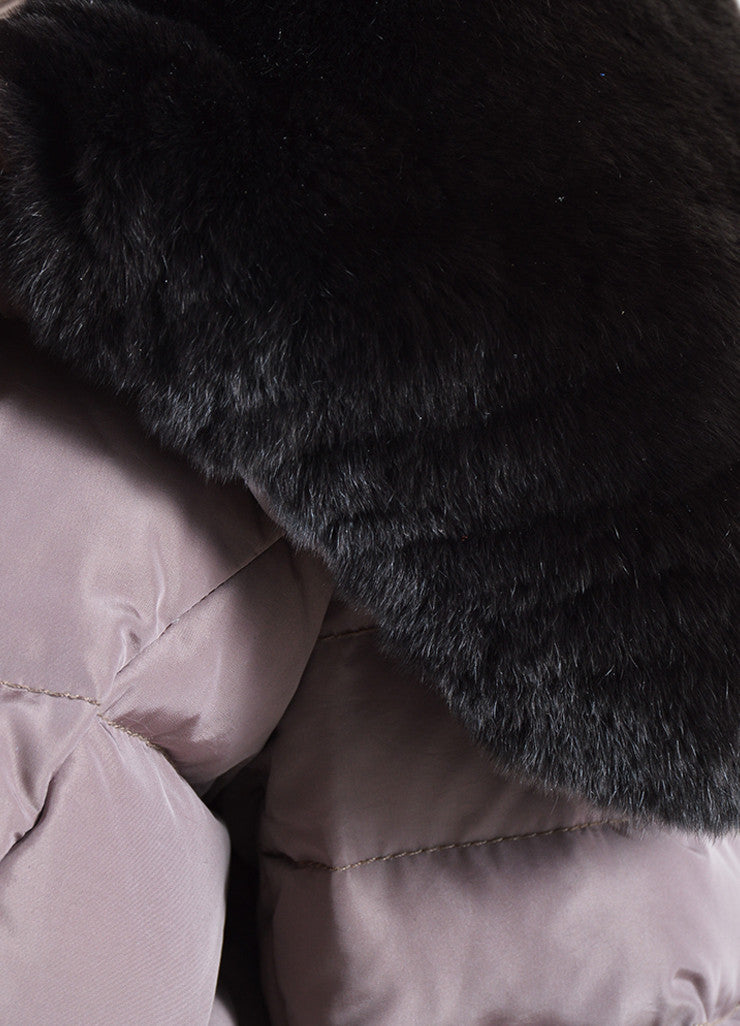 Moncler Mauve Nylon and Dark Brown Rabbit Fur Belted Puffer Winter Coat Detail