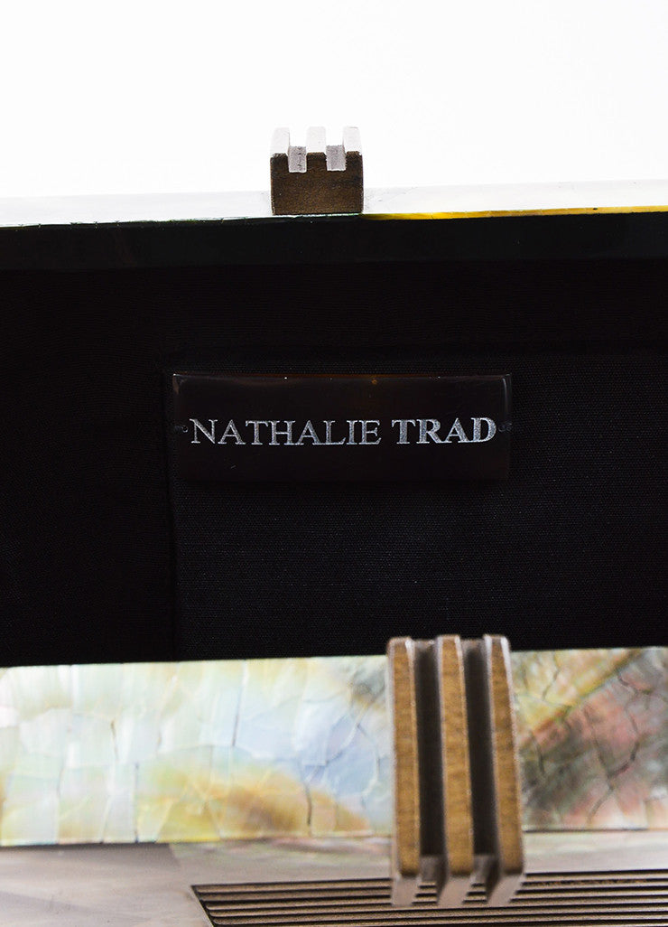 Nathalie Trad Green and Brown Opalescent Shell Resin Wood Box Clutch Bag Brand
