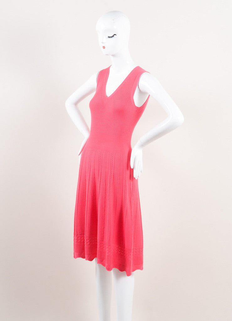 Oscar de la Renta New With Tags Pink Wool Woven Braided Knit Skater Dress Sideview