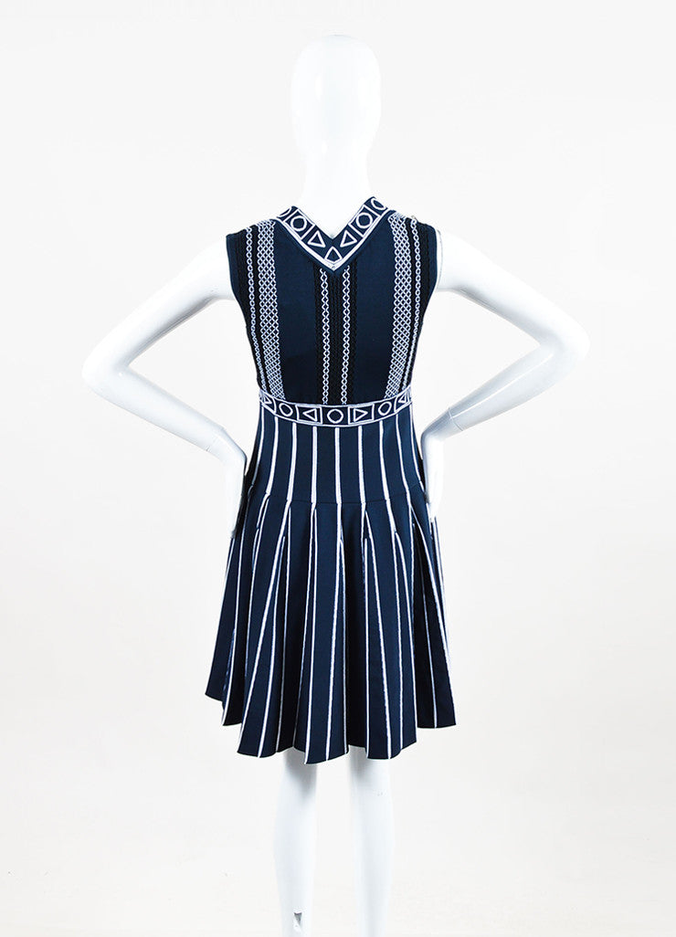 "Peter Pilotto Navy and White Pleat Stretch Knit ""Index"" Printed Dress Backview"