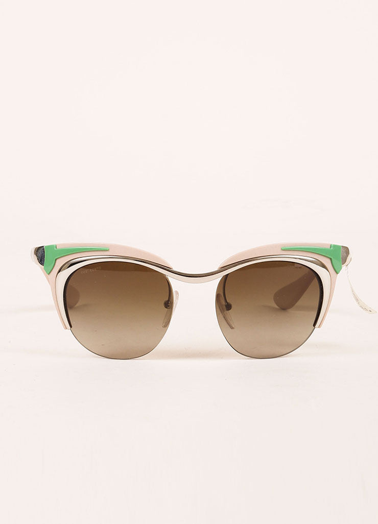 "Prada Pink, Green, and Silver Toned Retro Style ""SPR61O"" Clubmaster Sunglasses Frontview"