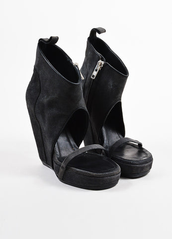 Rick Owens Grey Suede Leather Platform Wedge Heel Ankle Bootie Sandals Frontview