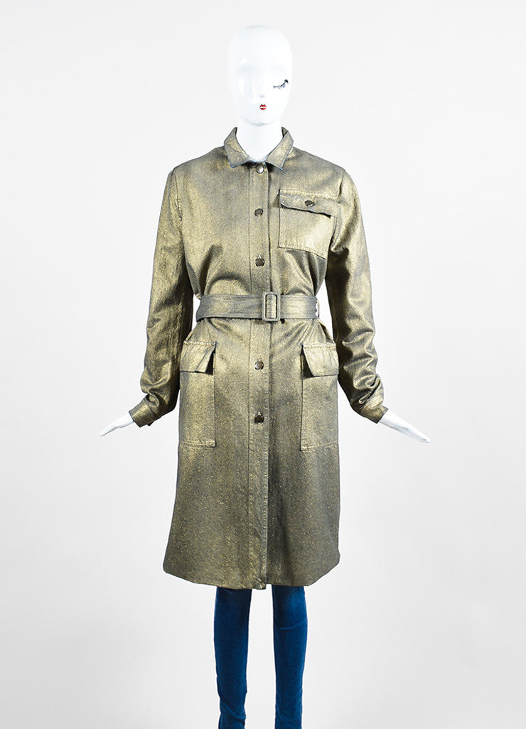 Gold Metallic Tomas Maier Coated Belted Jacket Front