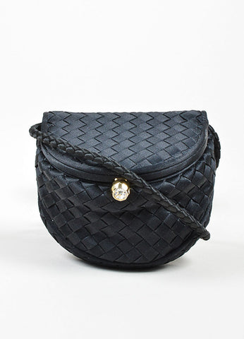 Black Bottega Veneta Satin Intrecciato Woven Mini Crossbody Flap Bag Frontview