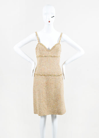 Chanel Boutique Beige Gold Multicolor Tweed Sheath Dress Front 2