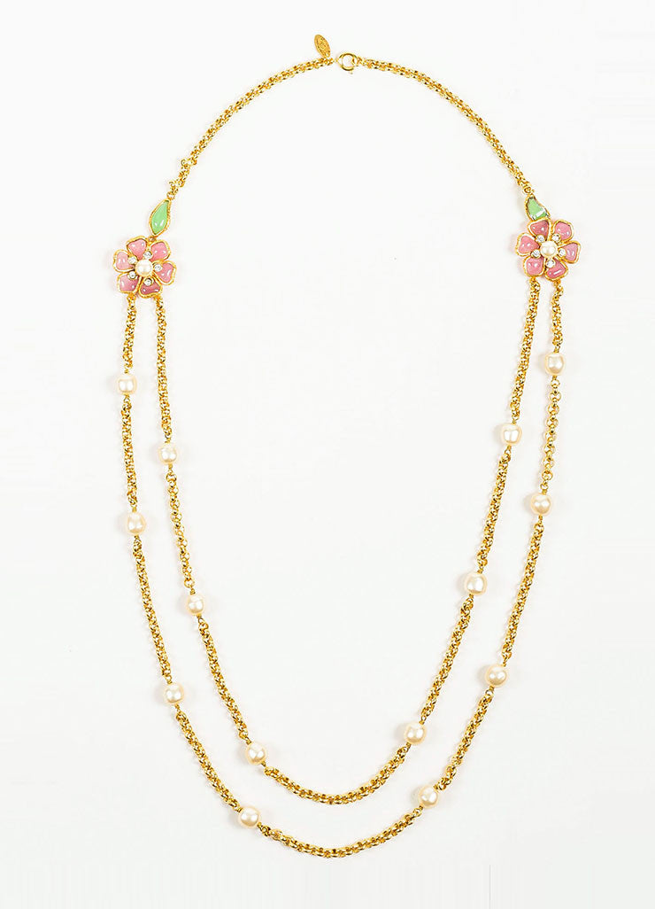 Gold Toned, Pink, and Green Chanel Gripoix Faux Pearl Flower Chain Necklace Frontview