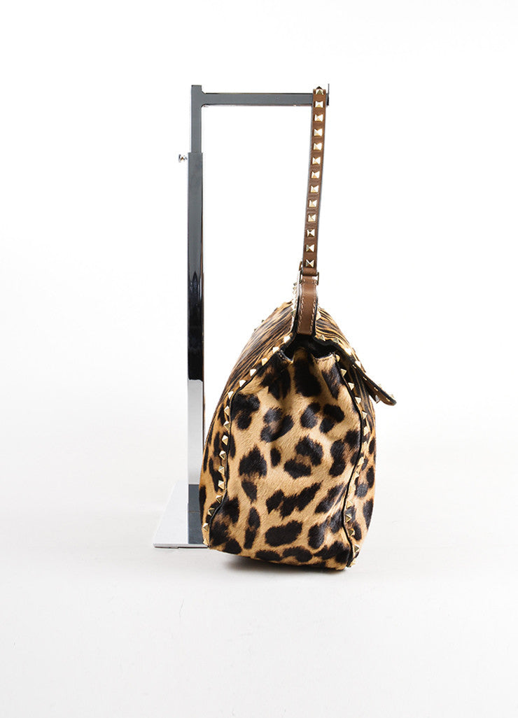"Valentino Brown Pony Hair Leather Leopard Print ""Rockstud"" Frame Bag Sideview"