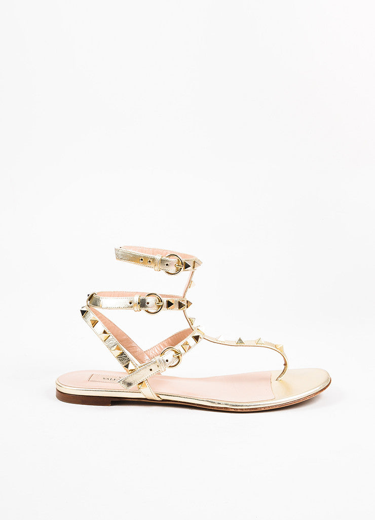 "Valentino Garavani Silver Gold Metallic Leather ""Rockstud"" Sandals Side"