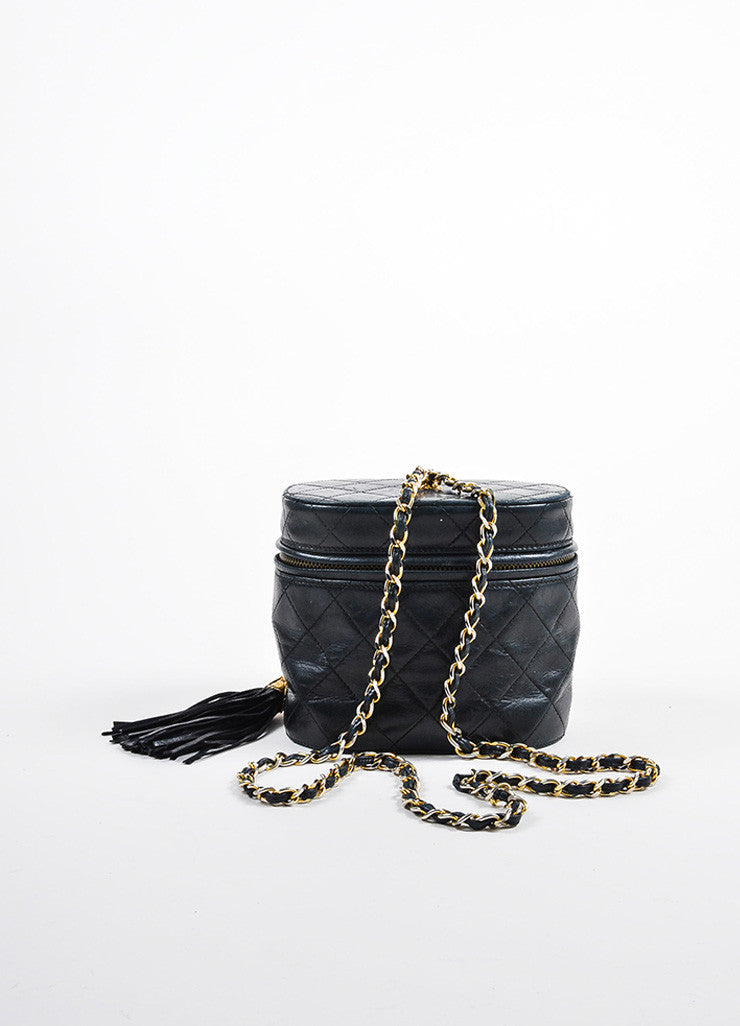 "Chanel Black Quilted Lambskin 'CC"" Tassel Cylinder Shoulder Bag Frontview"