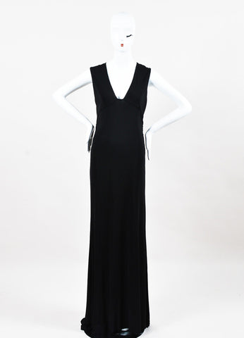 Vera Wang Black Sleeveless V Neckline Column Maxi Gown