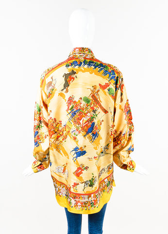 "Hermes Yellow Red Multi Silk ""Cirque Molier"" Print Button Up Blouse Back"