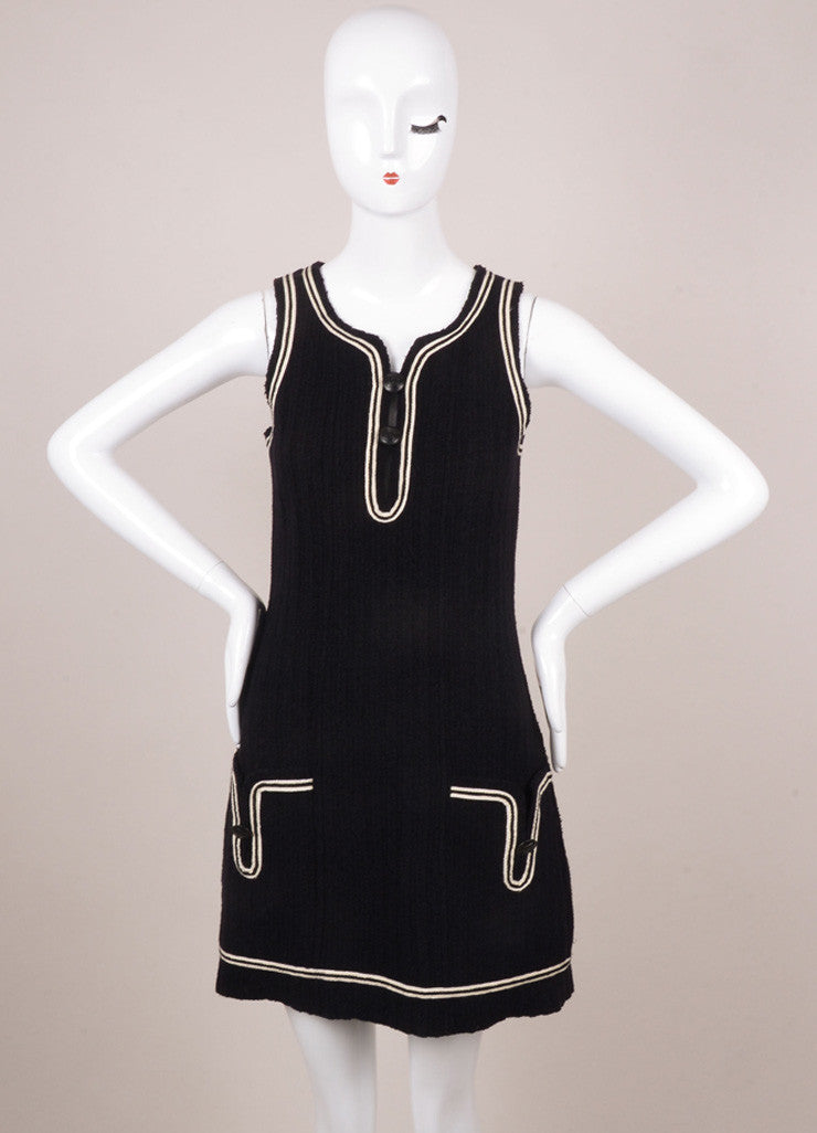 Chanel Black and White Trim Sleeveless Knit Shift Mini Dress Frontview