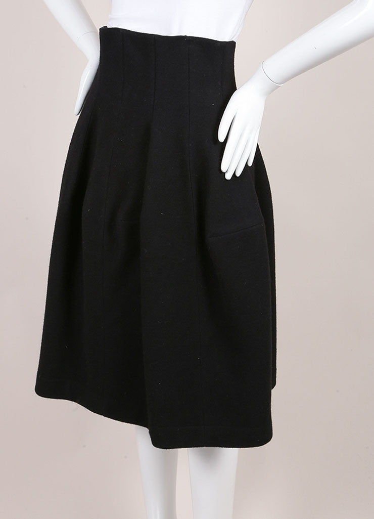 Alaia Black Wool and Cashmere High Waisted Structural Skirt Sideview