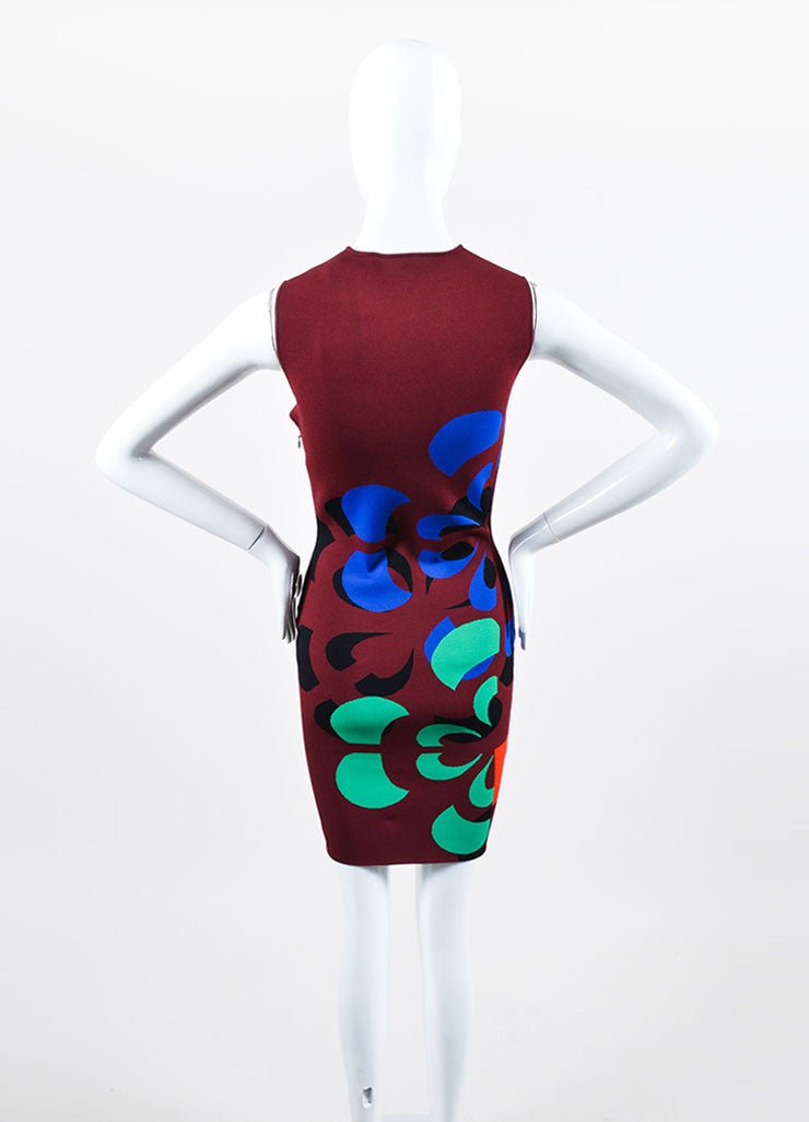 Maroon and Multicolor Alexander McQueen Stretch Knit Bodycon Dress Backview