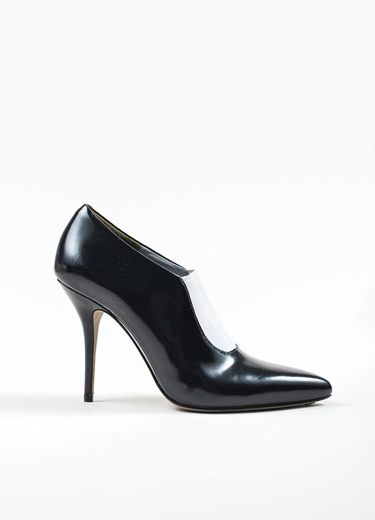 Black and White Alexander Wang Leather Glossy Pointed Toe Booties Sideview