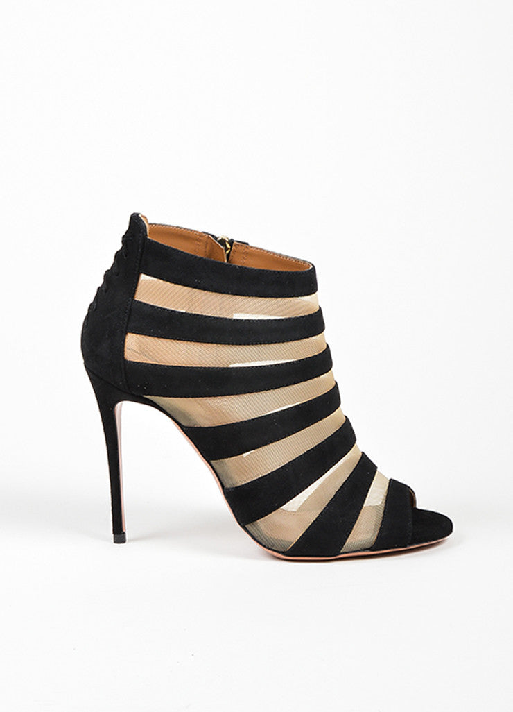 "Black and Nude Aquazzura Suede Mesh Caged ""Wild Side"" Booties Sideview"