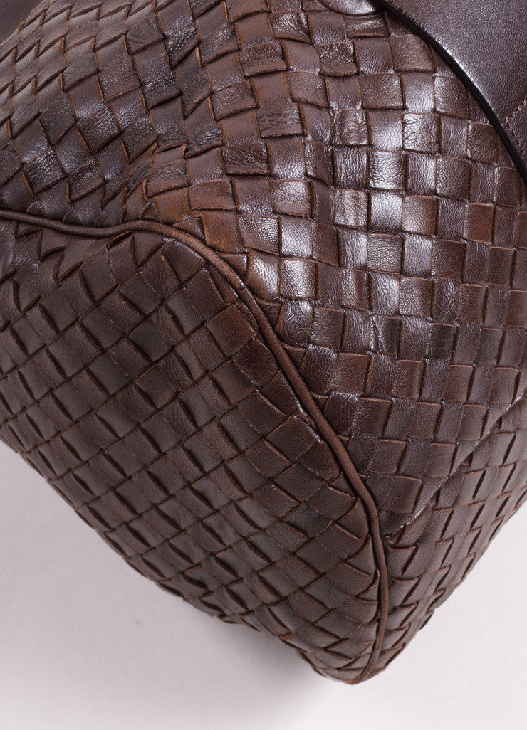 Bottega Veneta Dark Brown Intrecciato Leather Woven Satchel Bag Detail