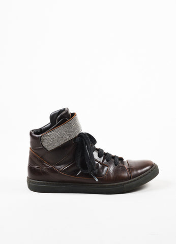Brunello Cucinelli Brown, Gunmetal Grey, and Black Leather High Top Sneakers Sideview