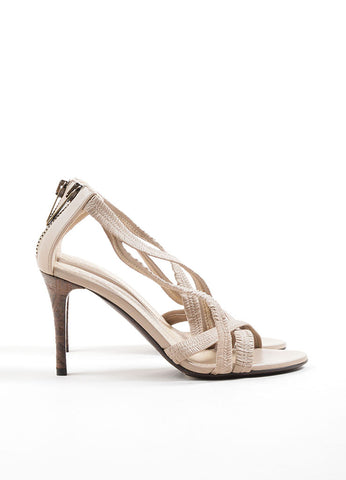 Burberry Beige Leather Plisse Strappy Heeled Sandals Sideview