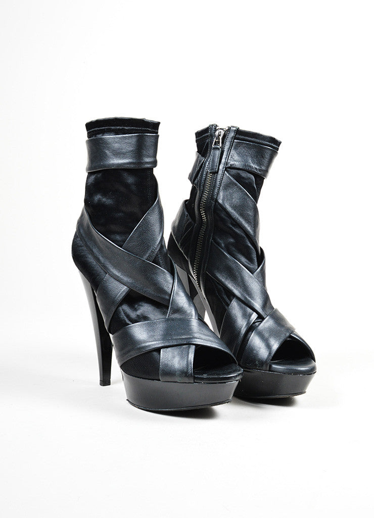 Black Burberry Prorsum Leather and Satin High Heel Peep Toe Ankle Boots Frontview