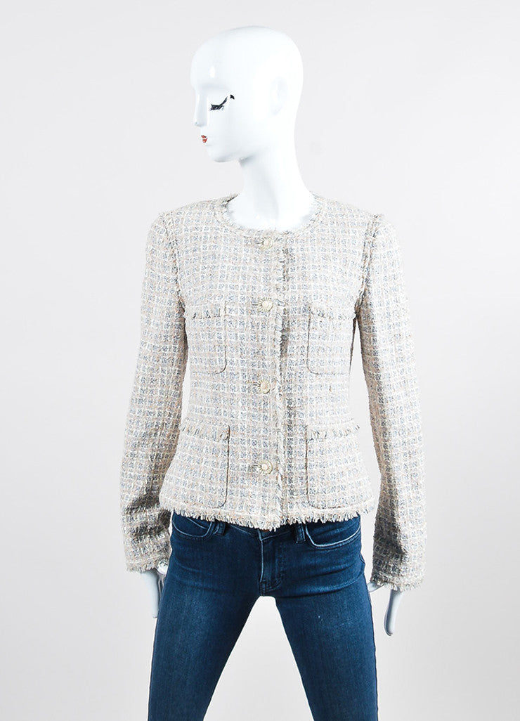 Cream, Pink, and Multicolor Chanel Tweed Fringe Blazer Jacket Frontview 2
