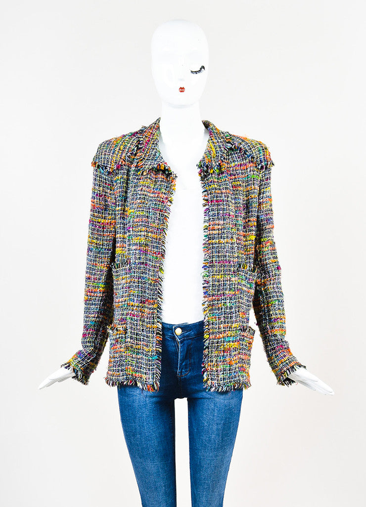 Chanel Black and Multicolor Tweed Single Button Jacket Frontview