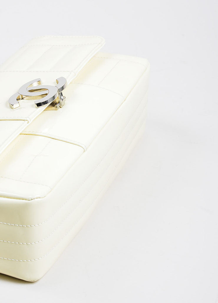 Cream and Silver Toned Quilted Patent Leather 'CC' Flap Chain Strap Bag Bottom View