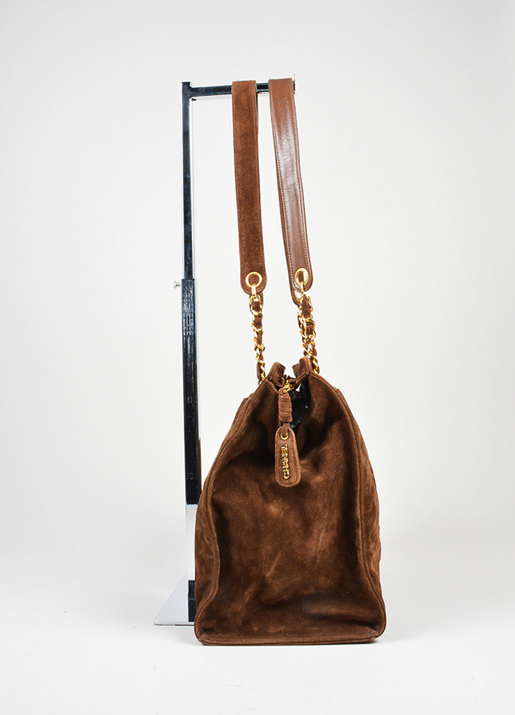 Brown and Gold Toned Chanel 'CC' Suede Leather Dual Strap Shoulder Bag Sideview